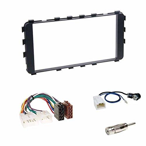 Einbauset : Autoradio Doppel-DIN 2-DIN 2 DIN Blende Einbaurahmen Radioblende schwarz + ISO Radio KFZ Adapter Radioadapter + Antennenadapter für Toyota Yaris (XP9) 01/2006-2011