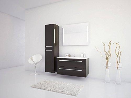 Jokey Badmöbel-Set Libato - 90 cm breit - Anthrazit Hochglanz - Badezimmermöbel Waschtisch mit Unterschrank Spiegel mit Beleuchtung und Hochschrank Sieper
