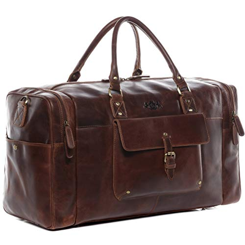ed93eb77bde74 SID   VAIN Real Leather Travel Bag Holdall Yale Large Weekender Duffel Bag  38l Overnight Duffle