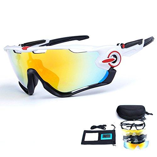 TOPTETN Gafas de sol deportivas polarizadas Protección UV400 Gafas de ciclismo con 5 lentes intercambiables para ciclismo, béisbol, pesca, esquí, funcionamiento (02)