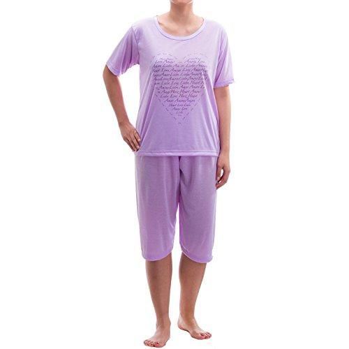Lucky capri pyjama-fine avec pression Violet - Lilas