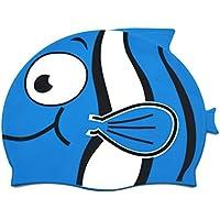 LUOEM Kinder Silikon Badekappe Cartoon Fisch Shaped Badekappe für Jungen und Mädchen (Sky Blue)