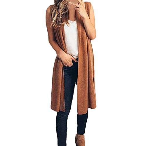 Damen Ärmelloses Cardigan Coat Lightweight Kimono Lang Weste Strickjacke Windbreaker Mantel Frühling Herbst Winter Stilvoll Bequem Outwear