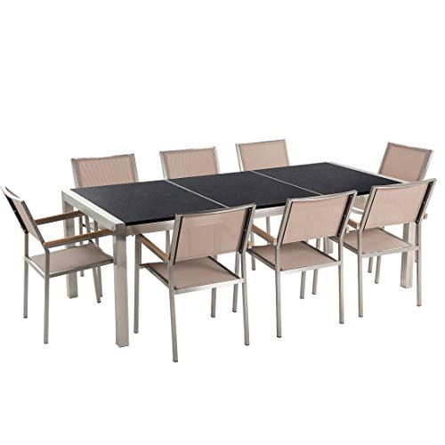 Beliani Gartenmöbel Set Naturstein schwarz poliert 220 x 100 cm 8-Sitzer Stühle Textilbespannung beige GROSSETO