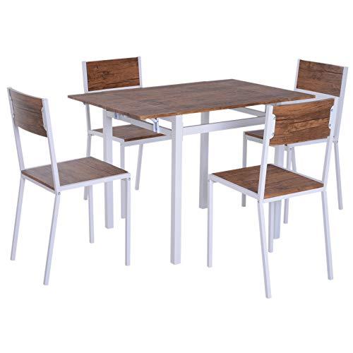 HOMCOM 5 Piezas Conjunto de Mesa Extensible y 4 Sillas de Comedor Juego Muebles de Cocina Sala Madera