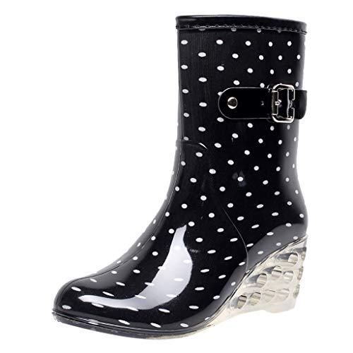 YWLINK Botas De Lluvia Mujer Hunter Zapatos CuñA Botas De Lluvia Hebilla con Cremallera Lateral Transparentes...