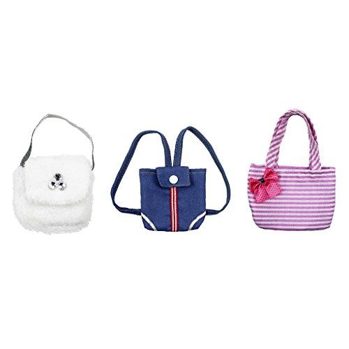 Sharplace 3 Stück Puppentasche für 18 Zoll Puppen Zubehör - Weiße Plüsch Handbeutel + Pink Gestreifte Handtasche + Blaue Rucksack