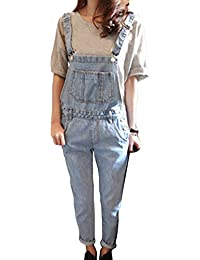 965f75e32d4e Runyue Womens Lightwash Dungarees Relaxed Fit Overalls Baggy Denim Jumpsuit  One Piece Romper Pants Trousers