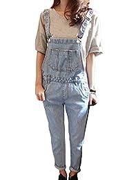 Runyue Donna Denim Elegante Sciolto Salopette Jeans Colore Chiaro Lavaggio  Pantaloni del Denim Boyfriend Azzurro Chiaro 003f66d70c8