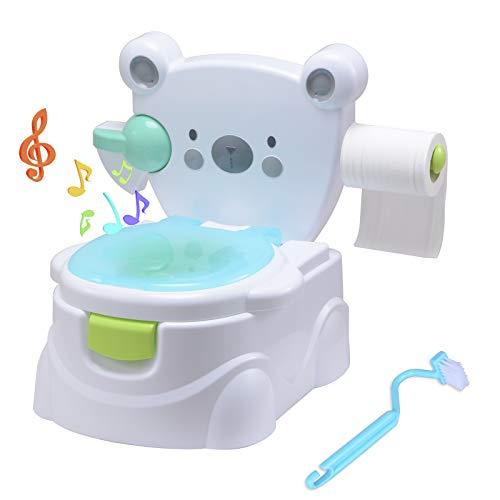 Voilamart Toilettentrainer mit Musik Kidskit Kindertopf Töpfchen Kindertoilette Kindertopf Kindertopf Lerntöpfchen,Ab ca. 6 Monate (Bär Muster) (Musik Töpfchen-training)
