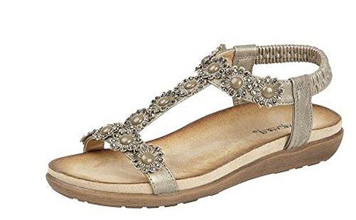 Cipriata Ladies Black Pewter Diamante Flower Sandals L106 KD-Pewter-UK 8 (EU 41) (Kd-8 Schuhe)