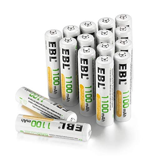 EBL AAA Akku 1100mAh 16 Stück 1.2V NI-MH wiederaufladbare Batterien ohne Memory-Effekt mit Akkuboxs