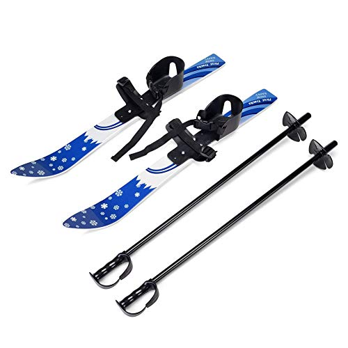 HIXGB Kinder Anfänger Ski Boards & Stöcke, Low-Resistant Ski Boards für Kinder Ski Snowboard, Schneeflocke
