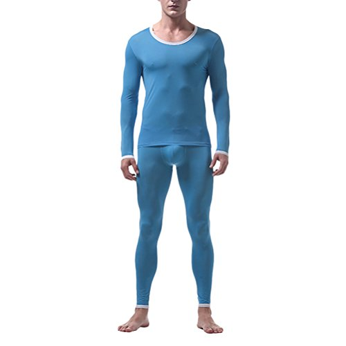 Blau Thermal Long Sleeve Top (Zhuhaitf Herren Thermo Unterwäsche Set Skiunterwäsche langarm Shirt lange Unterhose Translucent Soft Comfortable Thin Ice Silk Compression Thermal Underwear Set Long Sleeve Top & Bottom Long Johns)