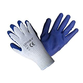 120 pairs, Latex Coated Work Gloves- Natural 10 Guage Cotton/ Poly, Blue Latex Palm (X-Large) by AZUSA SAFETY