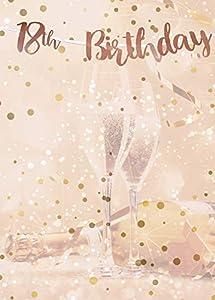 Alandra Cumpleaños BUNT-18 18 cumpleaños Oro Rosa metálico Bunting, Crema y Rosa, Talla única