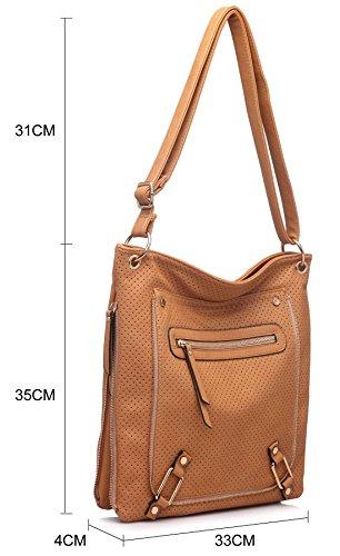 Big Handbag Shop ,  Damen Umhängetaschen Medium Tan (BH131)