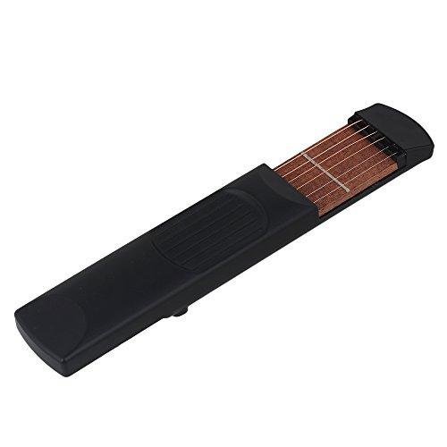 yibuy portátil plástico 4Trastes bolsillo guitarra cuerdas de práctica herramienta Gadget Chord, negro
