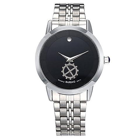 Hongboom Luxe Bracelet en acier inoxydable montre bracelet étanche à 30m pour homme décontracté Business zircon Quartz Analogique