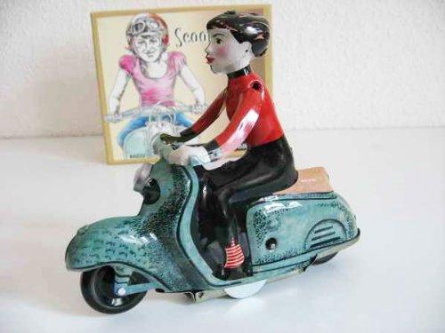 Motorroller grün mit Mädchen Roller Blech Blechroller Blechspielzeug