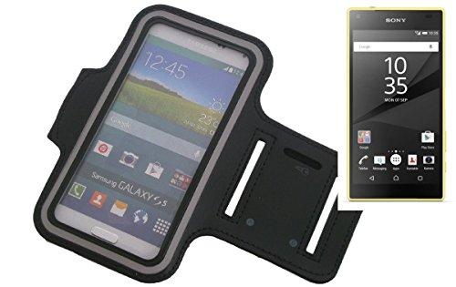 Neopren Jogging Armband Sportarmband Oberarmband für Sony Xperia Z5 Compact, schwarz mit Reflektor Streifen. Fitness Lauf Armband