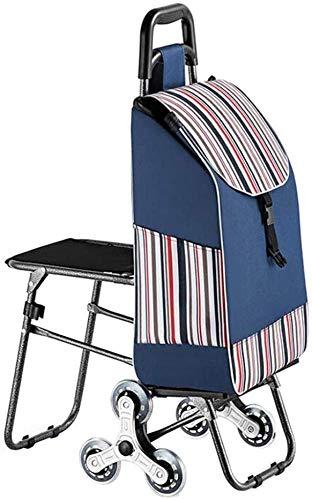 Einkaufswagen, Tragbarer Einkaufswagen Mit Faltbarem Sitzdesign Mit Leisem Nachlauf Für Junge Leute ältere Personen,Blue-22 * 88