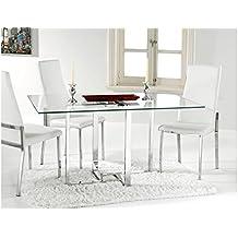 Adec - Mesa de comedor verona, medidas 90 x 140 x 75 cm, color acero cromado
