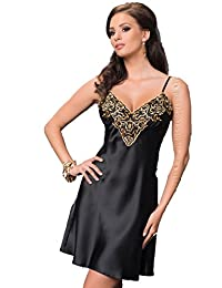eee3f98c7a Irall Luna Black and Golden Satin Floral Embroidered Nightdress