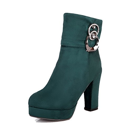 voguezone009-womens-high-heels-frosted-low-top-solid-zipper-boots-green-35
