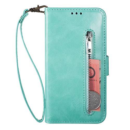 Handyhülle Samsung Galaxy A40 Hülle Case Leder Tasche Reißverschluss Brieftasche Flipcase Silikon Schutzhülle Handytasche Ledertasche Skin Ständer Klapphülle Schale Bumper Magnet Fächer Minzgrün -