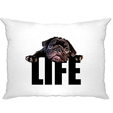 Life Of A Dog Pug Puppy Black Pug Cute Lazy Photograph LIFE Pillow Case (White)