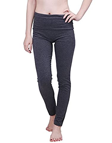 HDE Women's Maternity Yoga Pants Stretch Pregnancy Leggings Fold Over Waistband (Charcoal Gray with Charcoal Gray, Medium)