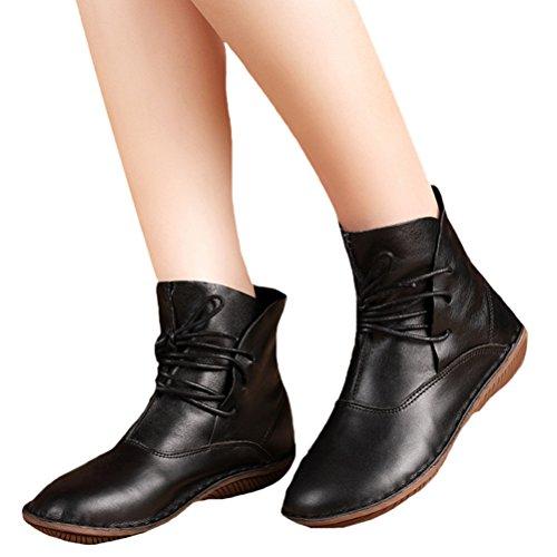 Vogstyle Damen Leder Stiefel New Flache Schuhe Art 1 Schwarz