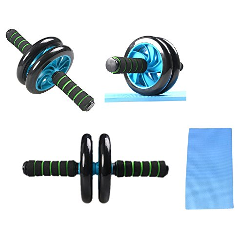 JZK® Addominali AB Roller attrezzo con tappetino, Macchine per addominali, due ruote AB Trainer, esercizio ruote, regalo perfetto (blu)