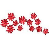 Alcyoneus 12 Dekorationsaufkleber für den Fernseher, die Wand. Spiegeleffekt. Motiv: Blume, verschiedene Größen, Dekoration zum Selbermachen, für Zuhause, 3D rot