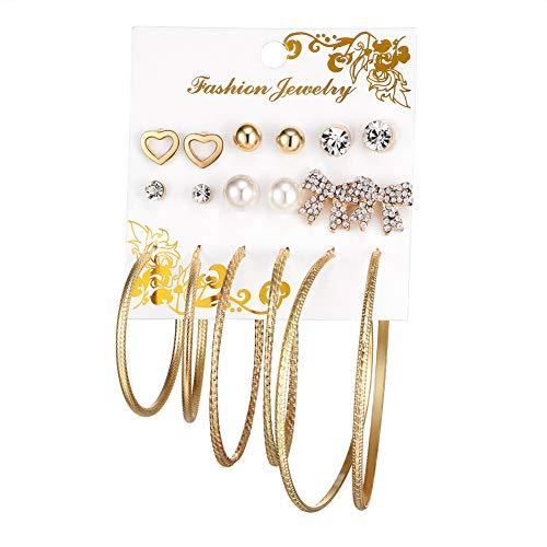 Hosaire 9Paia Gioielli Set Donne Orecchini Romantico Perla e Anello e Cuore Form éclat Strass Gioielli Elegante Regalo di Compleanno