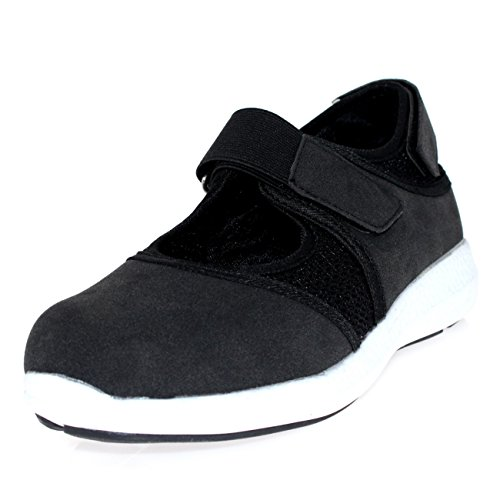 Womens Mary Jane Velcro Strap Walking Cut Out Sport Lightweight Trainers - Black - UK5/EU38 - BS0118
