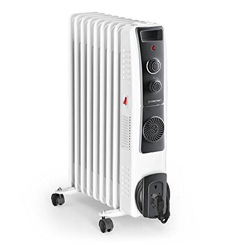 TROTEC Elektro Heizung Ölradiator TRH 22 E (2.400 Watt, 3 Heizstufen, Thermostat, 4 Lenkrollen, praktische Kabelaufwicklung, integrierter Griff)