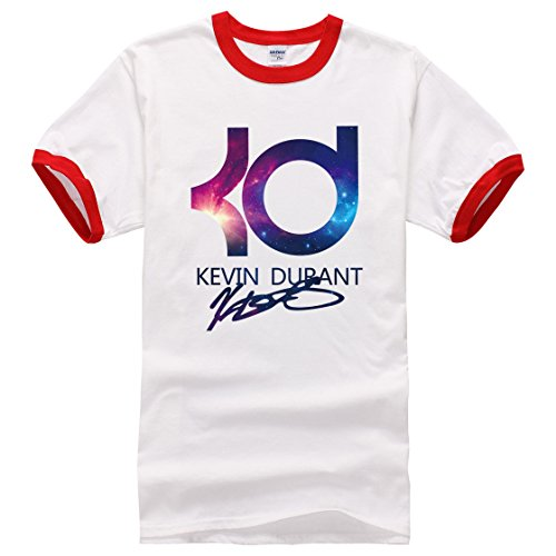 Men's Kevin Durant PrintedShort Sleeve Cotton Casual red white 1