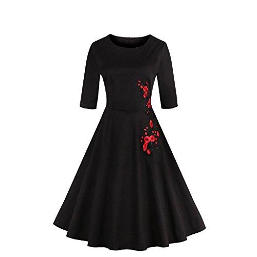 iRachel Damen 1950s Rockabilly Cocktailkleid Stickerei Blumen Abendkleid Brautjungfer (Polka Dot Plus Kleid Size)