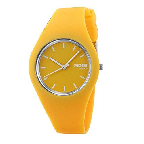 Reloj amarillo de pulsera para mujer