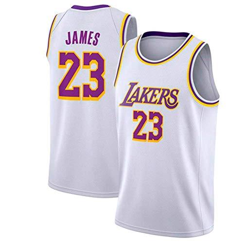 NBA Lebron James Basketball Trikot 23 Lakers Jersey Basketball Trikot Sport Swing Jersey Herren Basketball Wear Herren Fans,White,XL:185cm/85~95kg (Jersey White Lebron James)