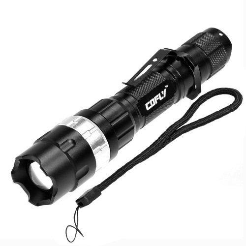 KX-H50 370LM Zoom Lente convessa Torcia a LED, Cree Q5 LED, 3 modalità, luce bianca, con clip e cinturino (viola) Novità Yiki (Colore : Silver)
