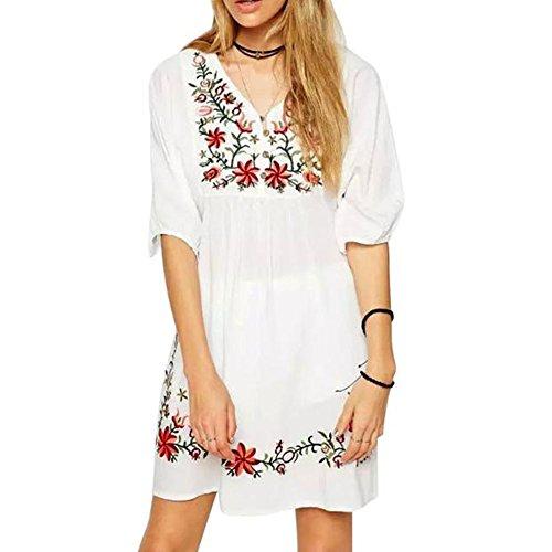 Damen Kleider Frauen Vintage Sommerkleider T-Shirt Kleid Mexikanischen Ethnischen Bestickt Pessant Hippie Blusenkleid Gypsy Boho Mini Dress Blume Stickerei Bedruckte Strandkleid (L, Sexy Weiß) (T-shirt Langen Bestickt Ärmeln)