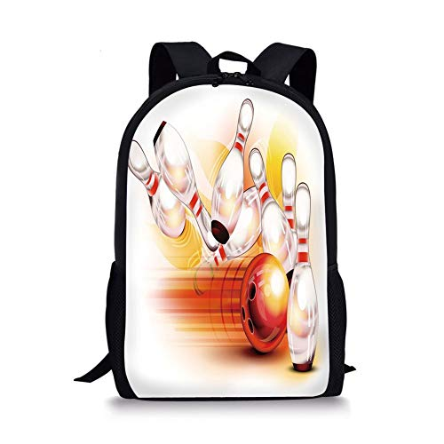 School Bags Bowling Party Decorations,Red Ball Falling Skittles Hit Speed Movement Throw Strike Decorative,Red Yellow White for Boys&Girls Mens Sport Daypack -