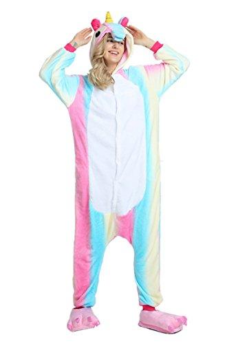 Tuopuda Animal Licorne Pijamas Kigurumi la Ropa de Noche del Traje del Anime de Cosplay Nightclothes de Navidad del Unicornio Onesie (S = 147-157 cm Height, Arco Iris)