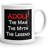 Adolf Coffee Mug Kaffeetasse Kaffeebecher Personalisiert mit Name- The Man the Myth the Legend - Beste Geschenke Gift for Männer Men - 11 oz White mug - Red