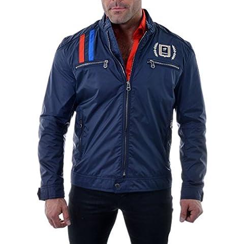 D&R Fashion Giacca Uomo Giacca a vento Blu Navy stile elegante Sport 2XL 3XL