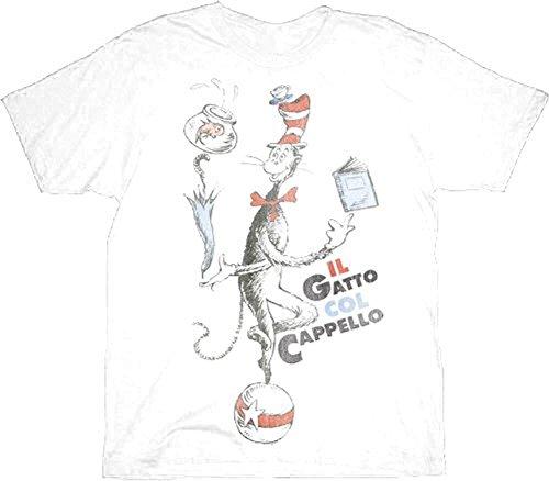 Hat Il Gatto Col Cappello weiß Erwachsene T-Shirt Medium ()