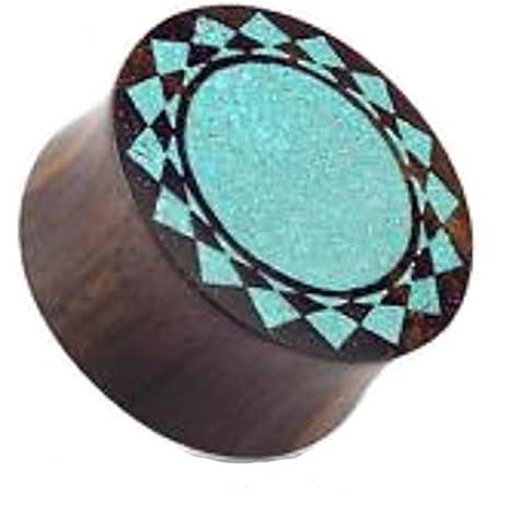 1 x 10mm Crushed Türkis Inlay Tribal Sunburst Design Bio Sono Holz Doppel Ausgestelltes Sattel Stecker, Feinste Qualität Werkstoff Ohrring Tunnel